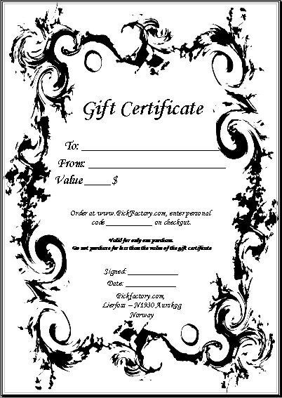 free customizable gift certificate template - guitar picks and custom printed guitar picks by pickfactory